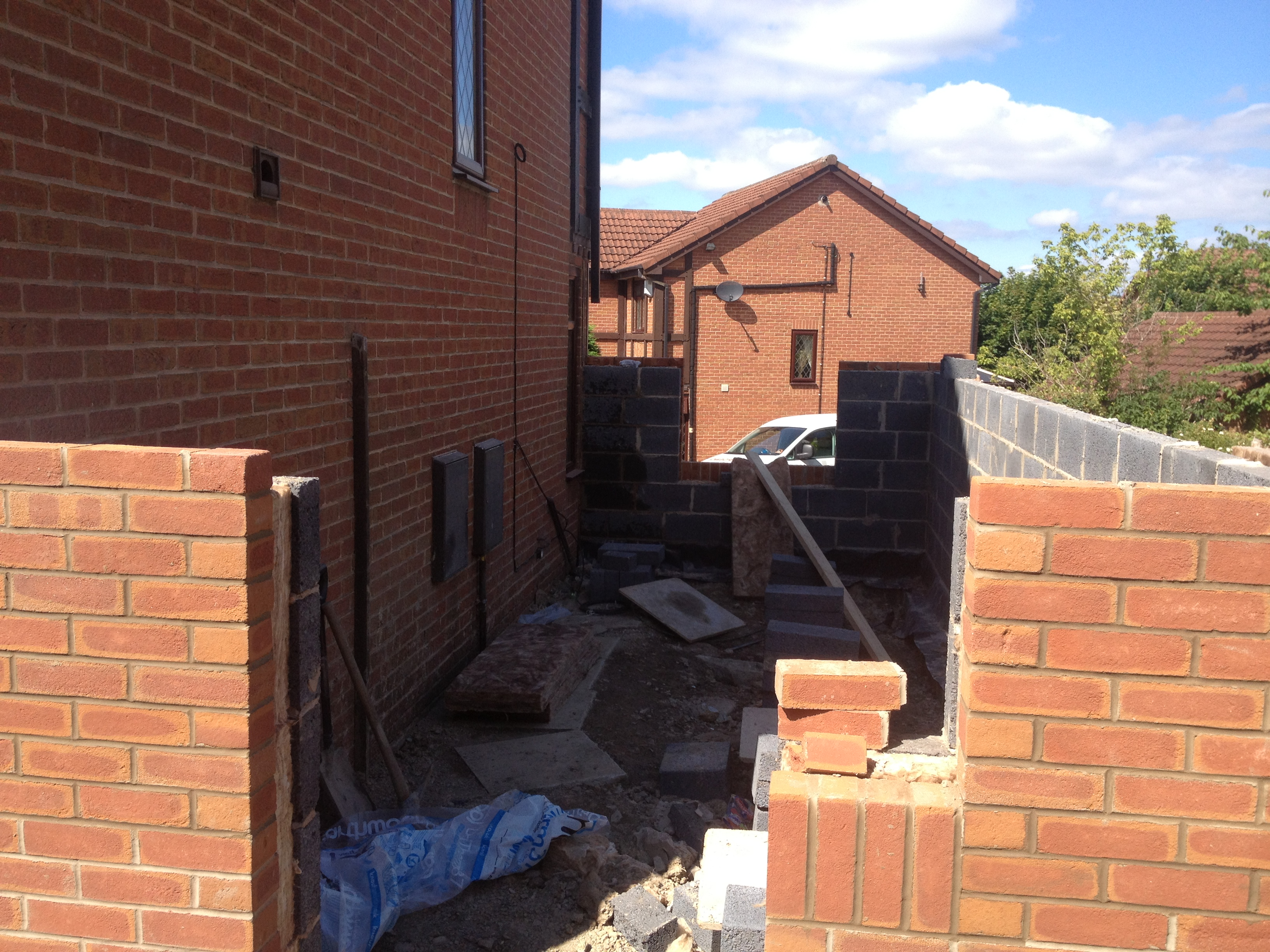 Two storey side single storey front porch extension tingley for Porch extension